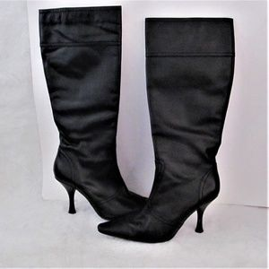 Black high heel leather boots zipper size 7